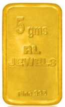 5 Gm 24Kt Purity 995 Fineness RL Jewels Printed Gold Chip